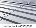 gray corrugated metal cladding...   Shutterstock . vector #485836981