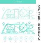 amusement park illustration.... | Shutterstock .eps vector #485837509