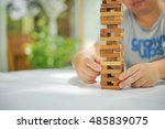 closeup of wood blocks stack... | Shutterstock . vector #485839075