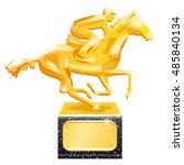golden trophy. horse racing.... | Shutterstock .eps vector #485840134