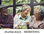 senior couple afternoon tea... | Shutterstock . vector #485845441