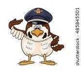 funny cartoon sparrow in... | Shutterstock .eps vector #485845501