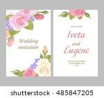 romantic vintage greeting card... | Shutterstock .eps vector #485847205