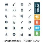 media icon set vector | Shutterstock .eps vector #485847649