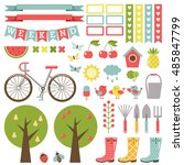 cute gardening set. stickers....   Shutterstock .eps vector #485847799