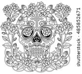 fantastic adult coloring page ... | Shutterstock . vector #485852671