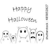 cute monsters for halloween... | Shutterstock .eps vector #485852827