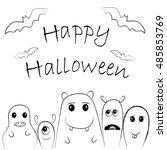 cute monsters for halloween... | Shutterstock .eps vector #485853769