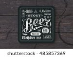 coaster for beer with hand... | Shutterstock . vector #485857369