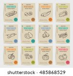 hand drawn vegetables posters... | Shutterstock .eps vector #485868529