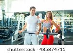 athletic couple   man and woman ... | Shutterstock . vector #485874715