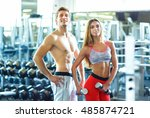 athletic couple   man and woman ... | Shutterstock . vector #485874721