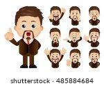 cute set   set of businesspeople   Shutterstock .eps vector #485884684