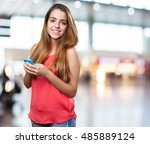 young cute woman using her... | Shutterstock . vector #485889124