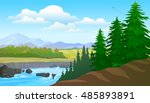 pines and lake view  | Shutterstock .eps vector #485893891