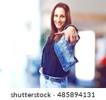 woman pointing to front | Shutterstock . vector #485894131