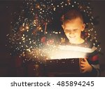 cute boy opening a magical... | Shutterstock . vector #485894245