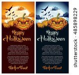 happy halloween party poster ... | Shutterstock .eps vector #485898229