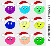 christmas smiley set faces... | Shutterstock .eps vector #485900299