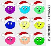christmas smiley set faces... | Shutterstock .eps vector #485900299