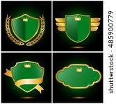 set of shield and laurels ribbon | Shutterstock .eps vector #485900779