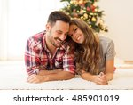 young  loving couple enjoying... | Shutterstock . vector #485901019