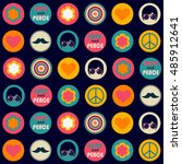 color retro hippie seamless... | Shutterstock .eps vector #485912641