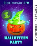 halloween party poster... | Shutterstock .eps vector #485913571