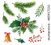 watercolor christmas elements ... | Shutterstock . vector #485917231
