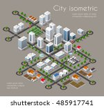 transportation city streets... | Shutterstock .eps vector #485917741