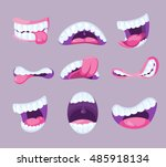 funny vector comic mouths... | Shutterstock .eps vector #485918134