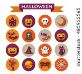 halloween icon set | Shutterstock .eps vector #485922565