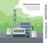 air pollution concept. factory... | Shutterstock .eps vector #485923549