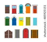 front house doors flat vector... | Shutterstock .eps vector #485925151