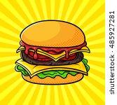 vector hand drawn pop art... | Shutterstock .eps vector #485927281