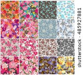 seamless flowers pattern | Shutterstock .eps vector #485927881