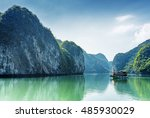 tourist boat in the halong bay  ... | Shutterstock . vector #485930029