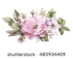 watercolor floral illustration  ... | Shutterstock . vector #485934409