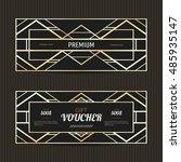 set of two gift vouchers in art ... | Shutterstock .eps vector #485935147