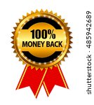 gold label 100 money back. ... | Shutterstock . vector #485942689