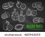 chalk sketches of exotic fruits ... | Shutterstock .eps vector #485943055