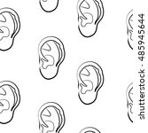sketch of human ear on white... | Shutterstock .eps vector #485945644