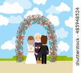 wedding ceremony near floral... | Shutterstock .eps vector #485948524