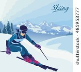 skiing in the mountains. vector ... | Shutterstock .eps vector #485953777