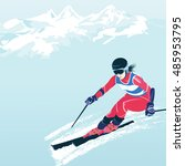skiing in the mountains. vector ...   Shutterstock .eps vector #485953795