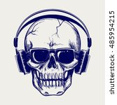 drawing ball pen skull sketch... | Shutterstock .eps vector #485954215