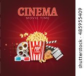 cinema movie vector poster... | Shutterstock .eps vector #485955409