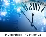 2017 year blue shining... | Shutterstock .eps vector #485958421