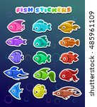 funny colorful fish stickers ...