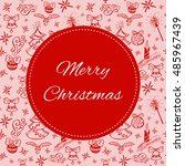 merry christmas card template... | Shutterstock .eps vector #485967439